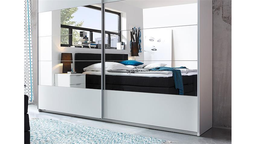 Schwebetürenschrank PENTA weiß mit Spiegel 270 cm breit