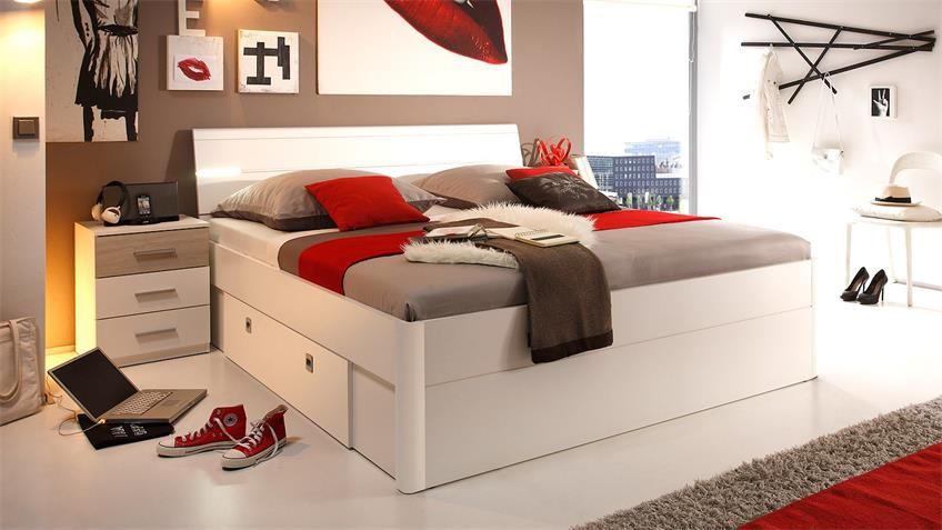 bettanlage mars bett nako wei sonoma eiche inkl led. Black Bedroom Furniture Sets. Home Design Ideas