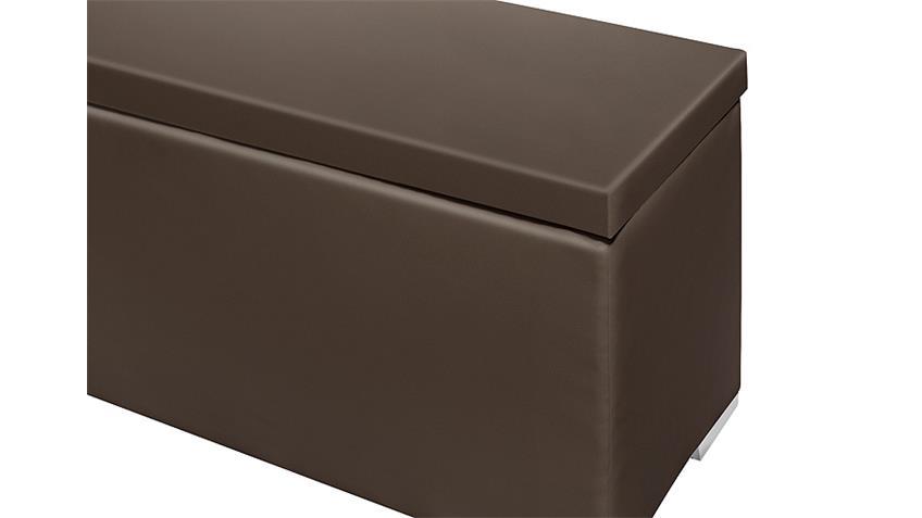 Sitzbank CHEST Truhe in dunkelbraun Deckel gepolstert