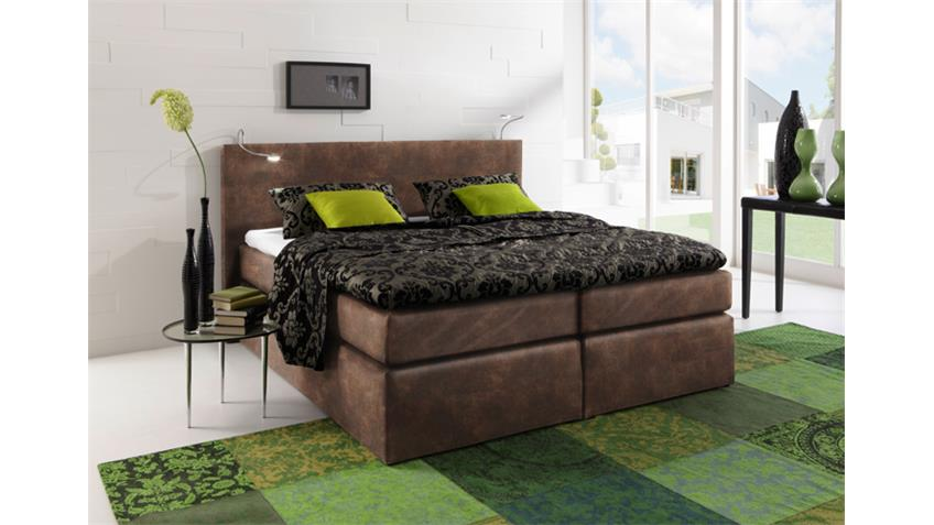 boxspring bett atlanta vintage braun 140x200 cm. Black Bedroom Furniture Sets. Home Design Ideas