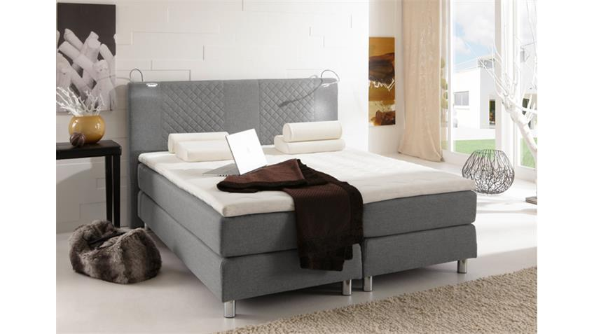 Boxspring Bett BOSTON Doppelbett in grau 140x200 cm