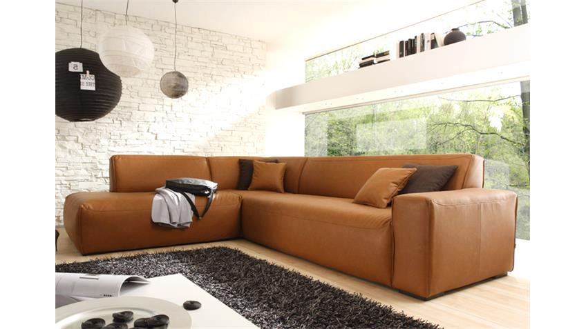 Ecksofa MUSTANG Eckgarnitur Sofa in Cognac Recamiere links