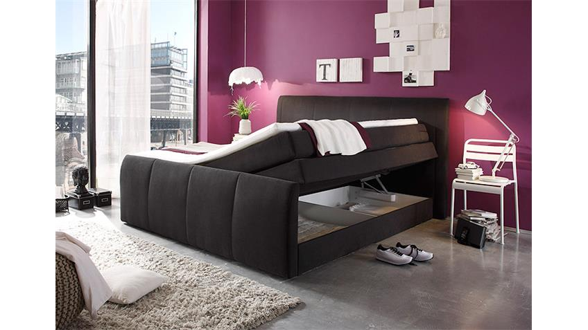 boxspringbett maryland schwarz mit topper 180x200 cm. Black Bedroom Furniture Sets. Home Design Ideas
