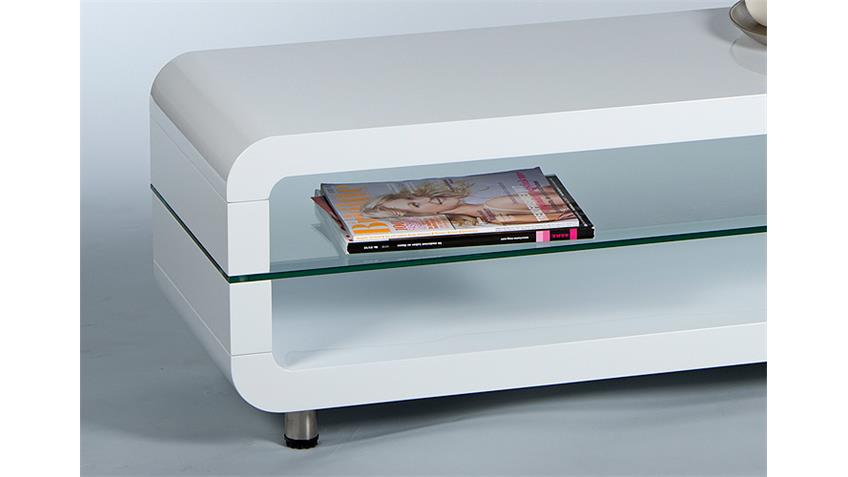 Lowboard 1 TRITON in Weiß Glanz mit Glasablage