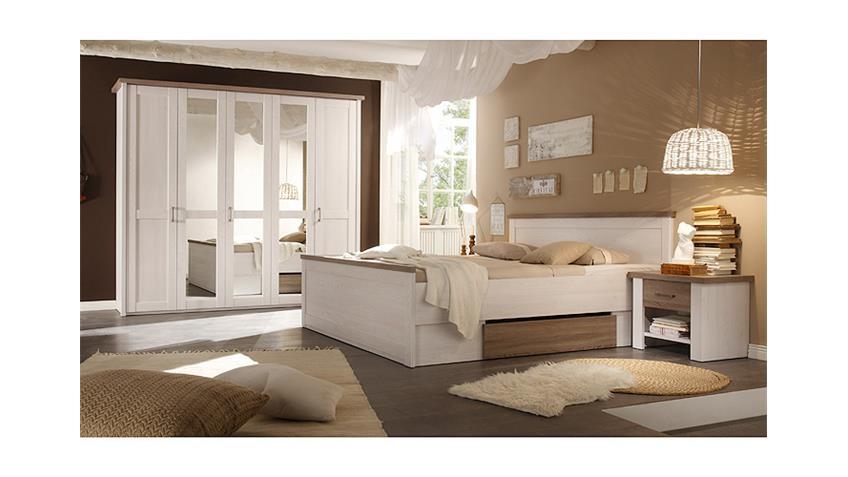 Schlafzimmer Luca Landhaus Schrank Bett Nachtkommode Pinie weiß
