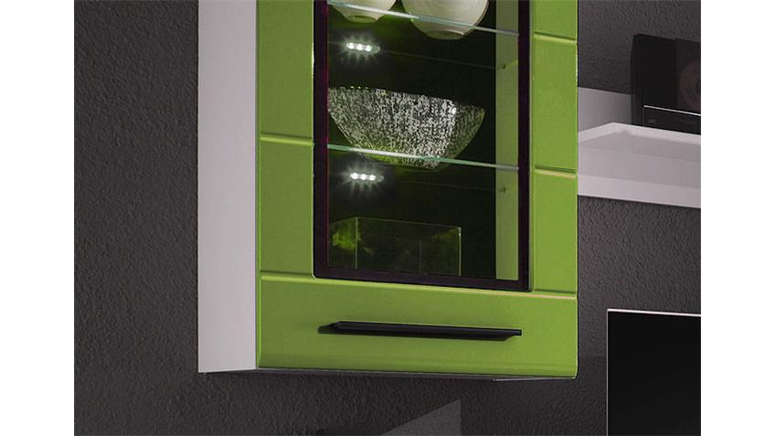 Wohnwand PUMA 2 weiß Rillenfront Hochglanz Lime inkl. LED