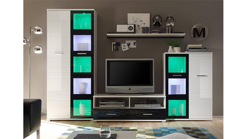 Wohnwand ULTRA 3 in Hochglanz Weiß und Schwarz inkl. RGB LED