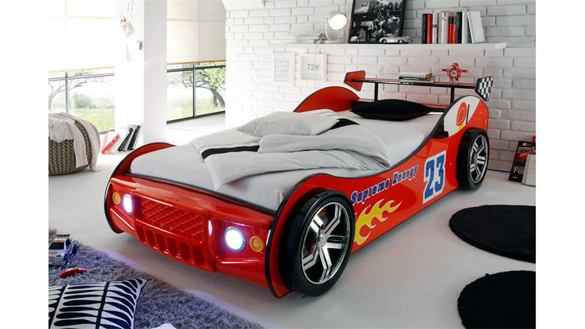 Autobett ENERGY MDF Kinderbett rot lackiert inkl. Beleuchtung
