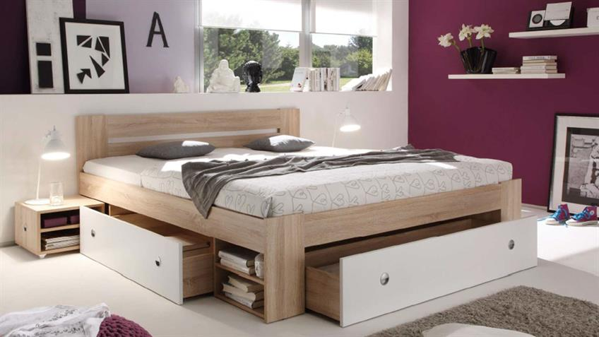 bettanlage stefan mit 2 nachttischen sonoma wei 3 schubk sten 180x200. Black Bedroom Furniture Sets. Home Design Ideas