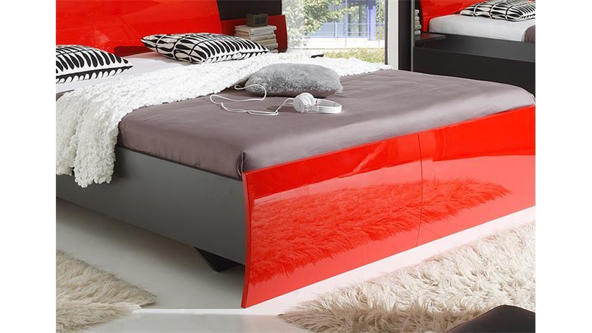 Bett ROSSO Schlafzimmerbett in Lava rot hochglanz 180x200