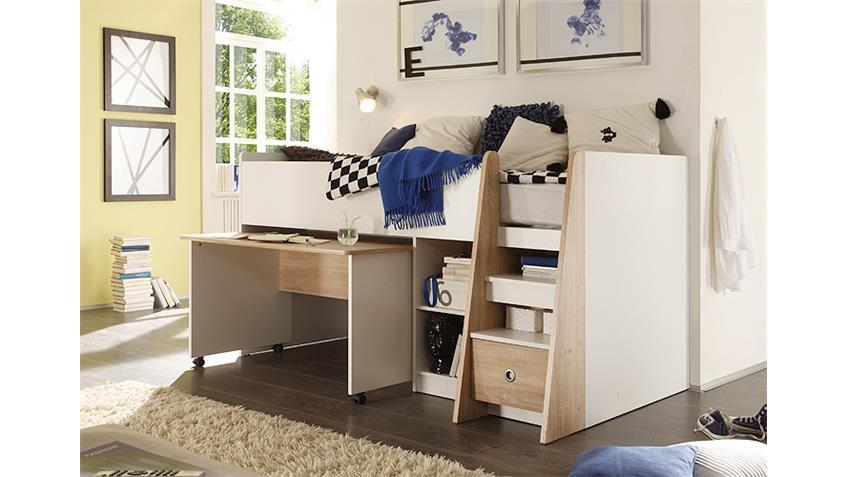 Hochbett PIERRE Etagenbett Bett in weiß und Sonoma Eiche