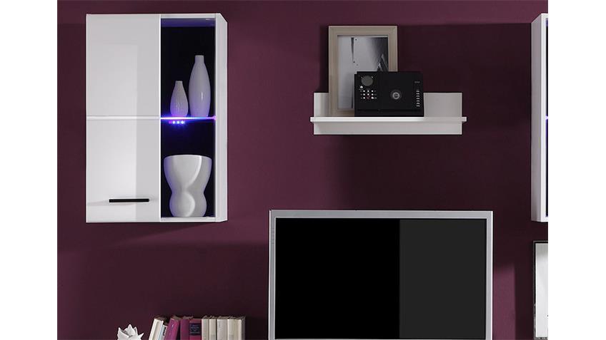 Wohnwand FINAL LUX in Weiß MDF Tiefzieh inklusive LED