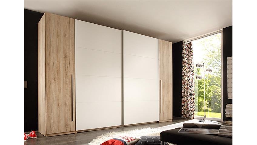 Schwebetürenschrank MATCH 2 in San Remo hell und weiß 316 cm
