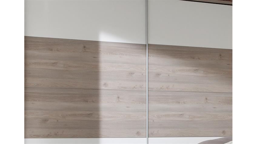 Schwebetürenschrank VIGO Silbereiche und weiß 270 cm