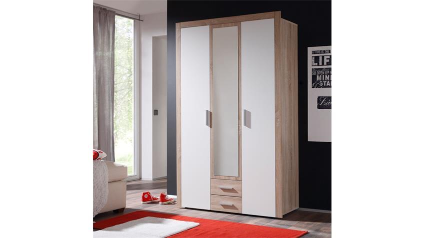 Kleiderschrank AXEL Sonoma Eiche und weiß 121 cm