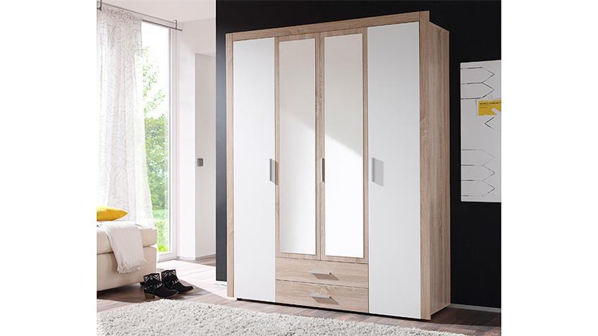 Kleiderschrank AXEL Sonoma Eiche und weiß 156 cm