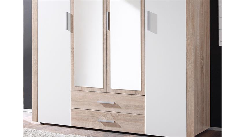 kleiderschrank axel sonoma eiche und wei 156 cm. Black Bedroom Furniture Sets. Home Design Ideas