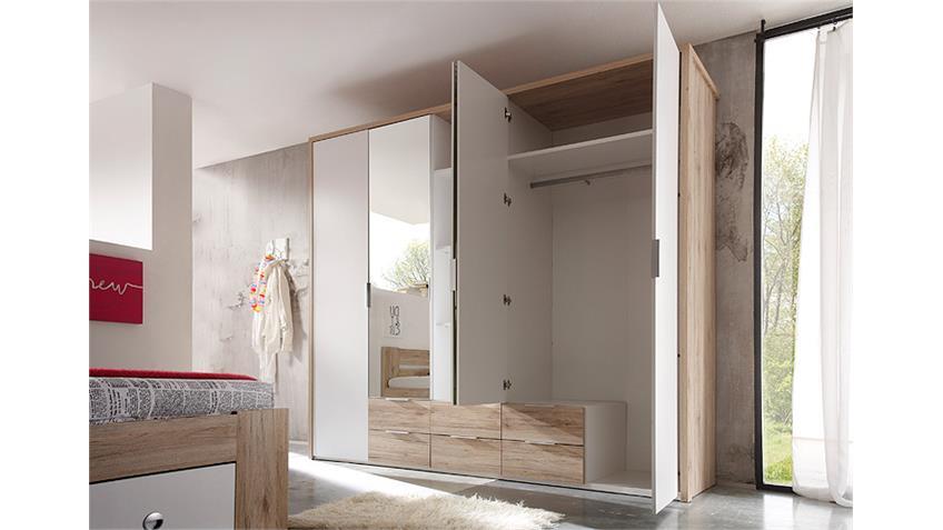 Kleiderschrank CONNIE in San Remo und weiß 230 cm