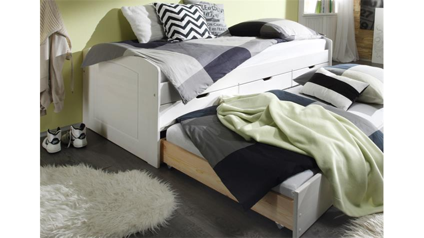 Tandemliege JESSY Bett Kinderbett in Kiefer weiß 90x200 cm