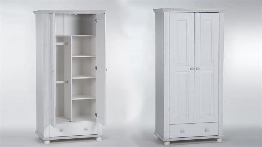 Kleiderschrank Babyzimmer LAURA Kiefer massiv weiß 2-türig