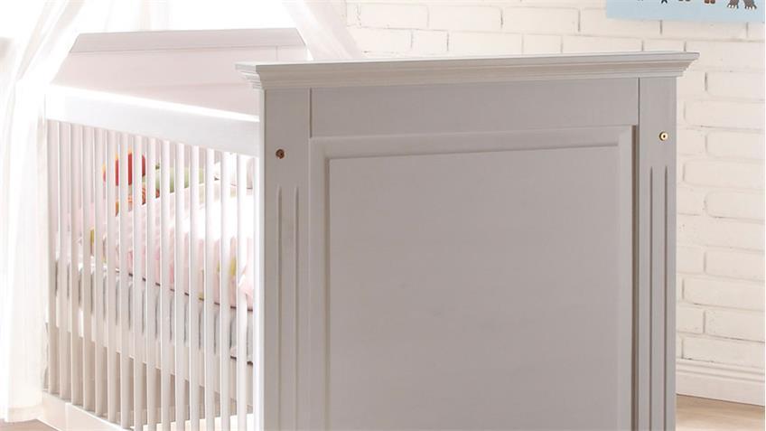 Babybett LAURA in Kiefer massiv in weiß 70x140 cm
