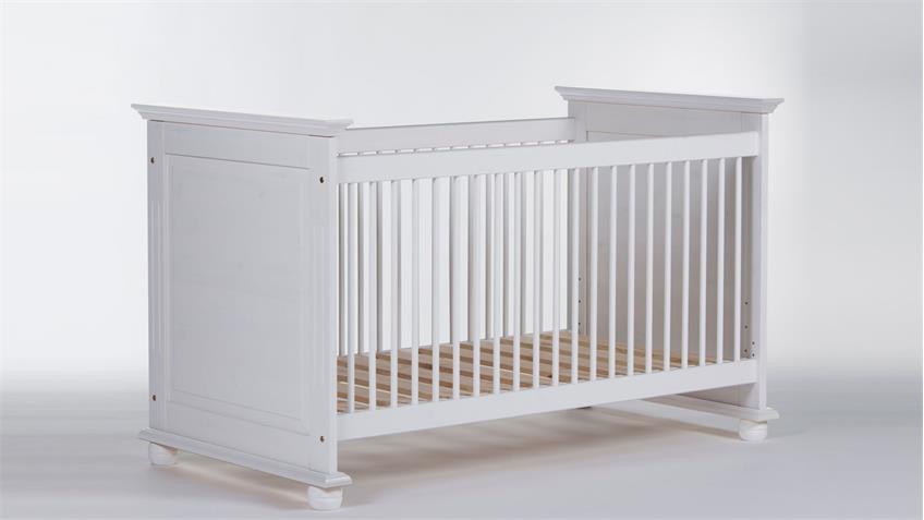 Babybett LAURA Kiefer massiv weiß Schlupfsprossen 70x140