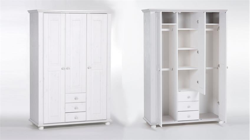 Kleiderschrank LAURA in Kiefer massiv in weiß 130 cm