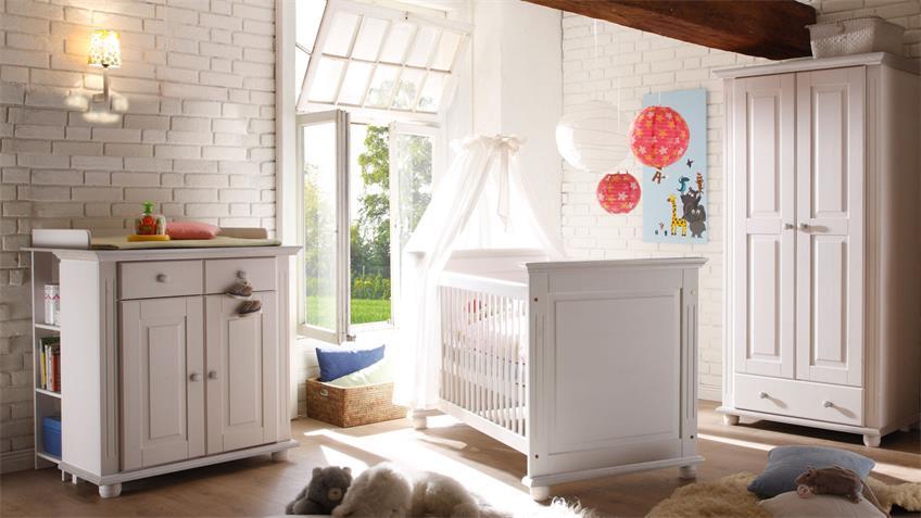 Babyzimmer Kiefer massiv weiß Set 1 Laura 4-teilig