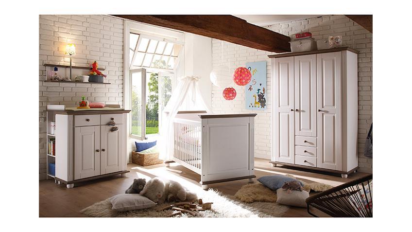 Babyzimmer 3 LAURA in Kiefer massiv weiß und Lava