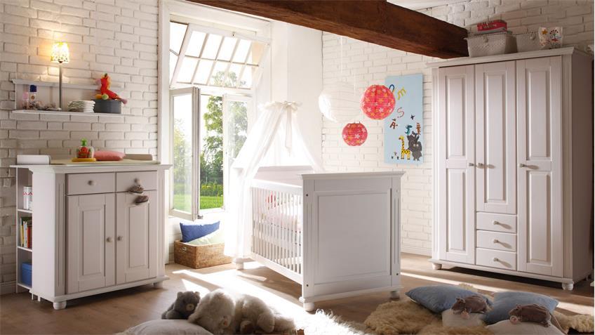 Babyzimmer Landhaus Kiefer massiv weiß Set 2 Laura 5-tlg