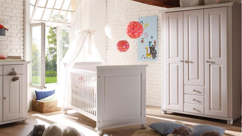 Babyzimmer 4 LAURA in Kiefer massiv weiß