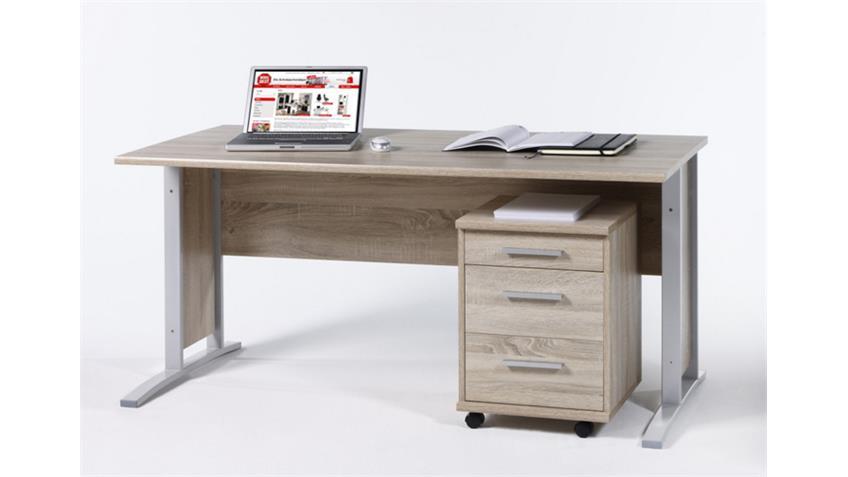 Schreibtisch mit Rollcontainer OFFICE LINE Sonoma Eiche