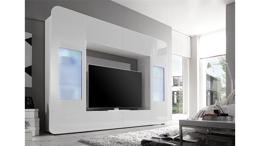 mediawand kino 2 wohnwand wei hochglanz tv bis 60 zoll. Black Bedroom Furniture Sets. Home Design Ideas