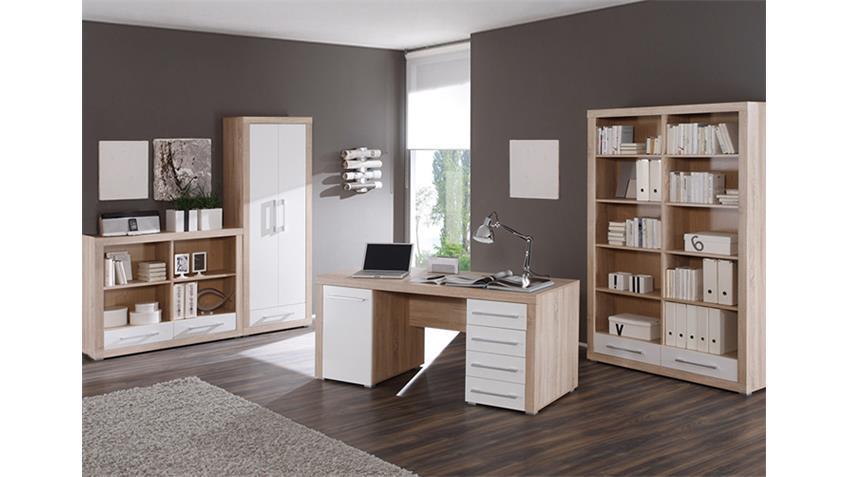 Büro CUBE Büromöbel Set 4-teilig weiß und Sonoma Eiche Dekor