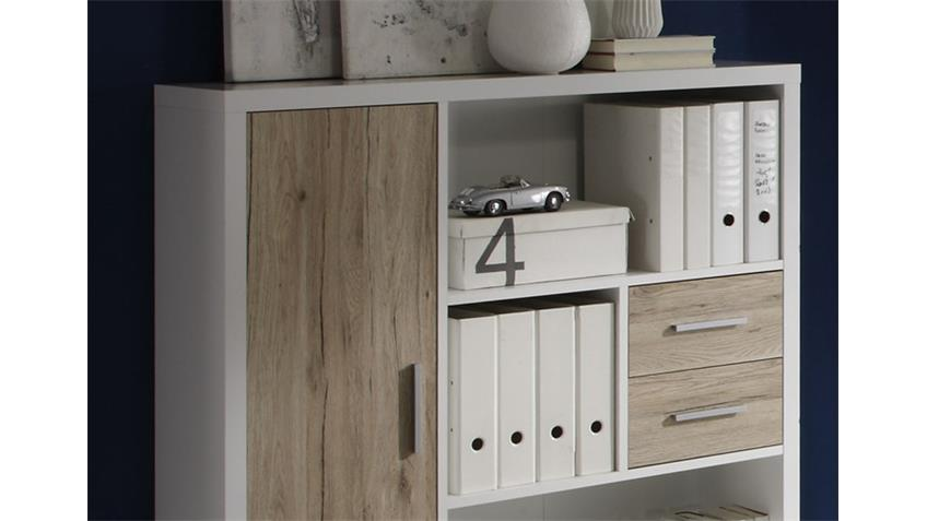 highboard tokyo b cherregal in san remo eiche und wei. Black Bedroom Furniture Sets. Home Design Ideas