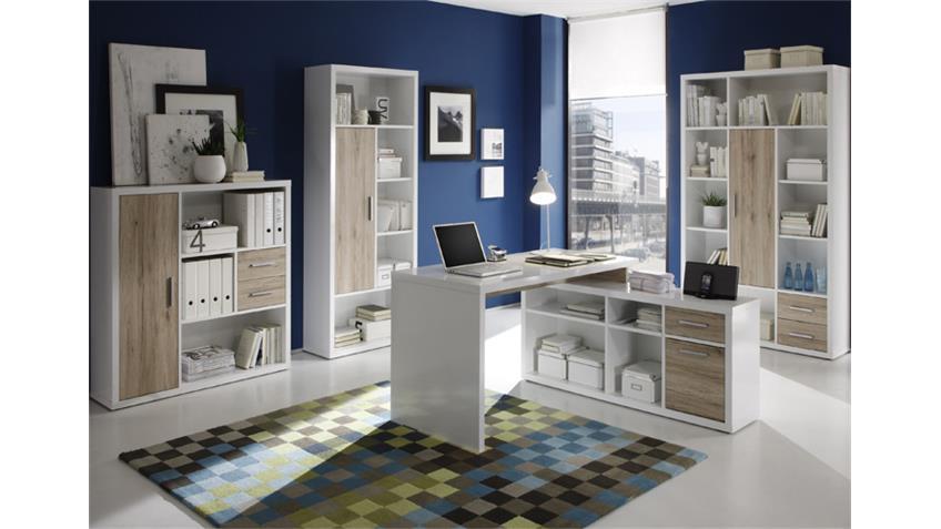 Büro-Set TOKYO 4-tlg weiß glänzend und San Remo Eiche