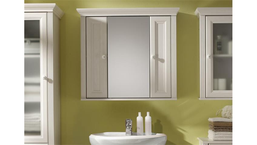 Spiegelschrank JASMIN Badezimmer Schrank Spiegel Lärche weiß
