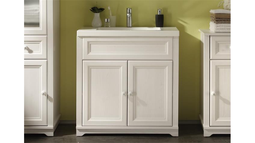 Badezimmer-Set JASMIN 5-tlg. mit Waschbecken in Lärche weiß