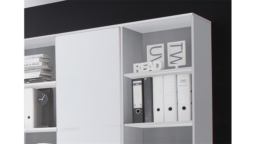 Kombischrank Büro SPICE groß in MDF weiß Hochglanz