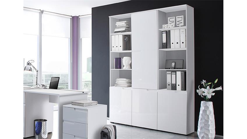 Büro Set SPICE Komplettset in MDF weiß Hochglanz