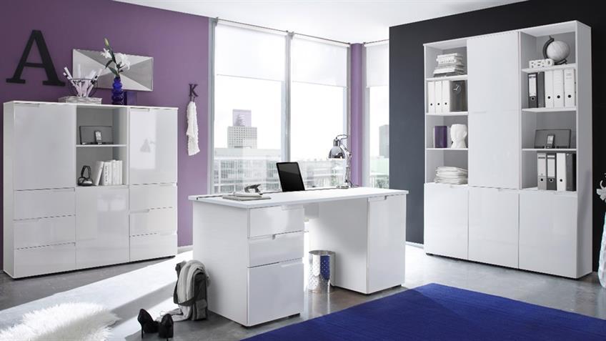Schreibtisch Spice 2 in Weiß mit Hochglanz Front 158x67 cm