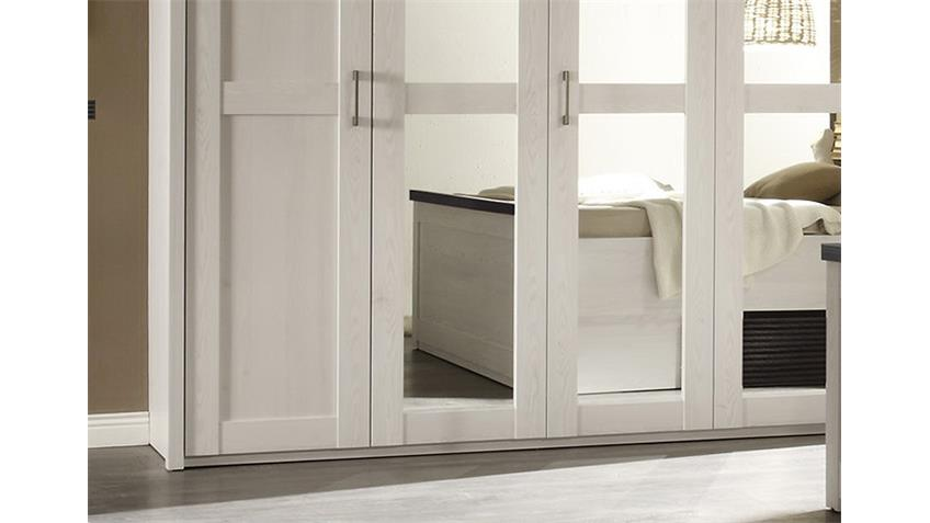 Kleiderschrank LUCA Pinie weiß Touchwood Spiegel 241 cm