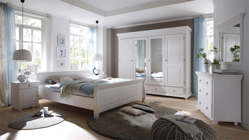Kleiderschrank OSLO Kiefer massiv weiß mit Spiegel 254 cm