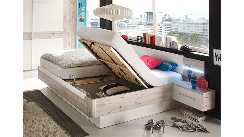 bett utah sandeiche wei 180x200 mit nakos und beleuchtung. Black Bedroom Furniture Sets. Home Design Ideas