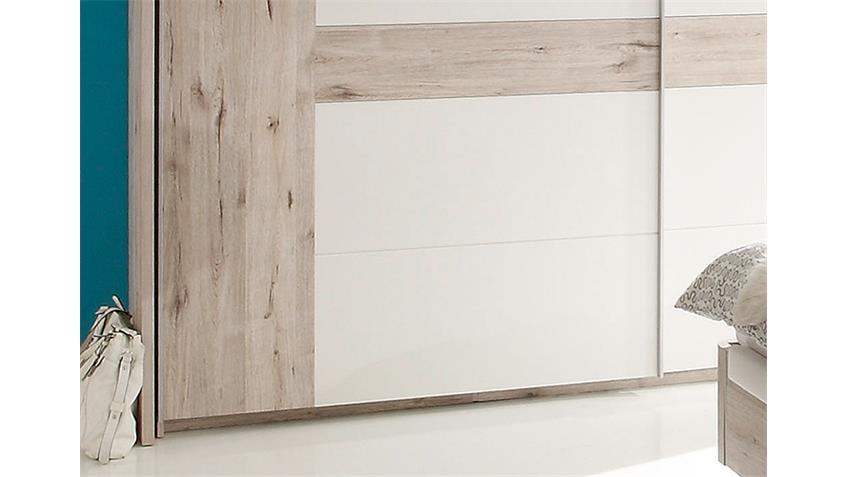Schwebetürenschrank UTAH in Sandeiche und weiß 270 cm