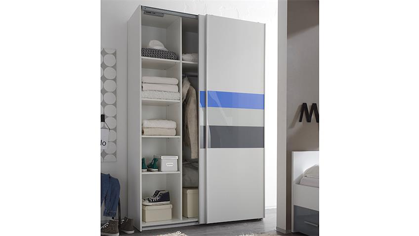Schwebetürenschrank COLORI weiß und Glas blau grau 125 cm