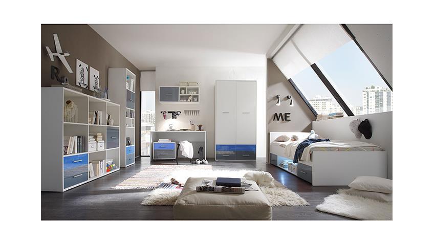 Standregal COLORI weiß und Glas blau grau mit 6 Fächern