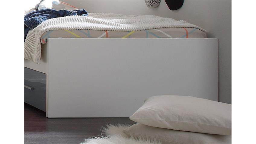 Bett COLORI weiß und Glas grau 90x200 cm