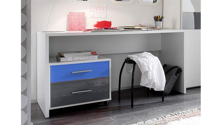 Schreibtisch COLORI weiß inkl. Rollcontainer blau grau