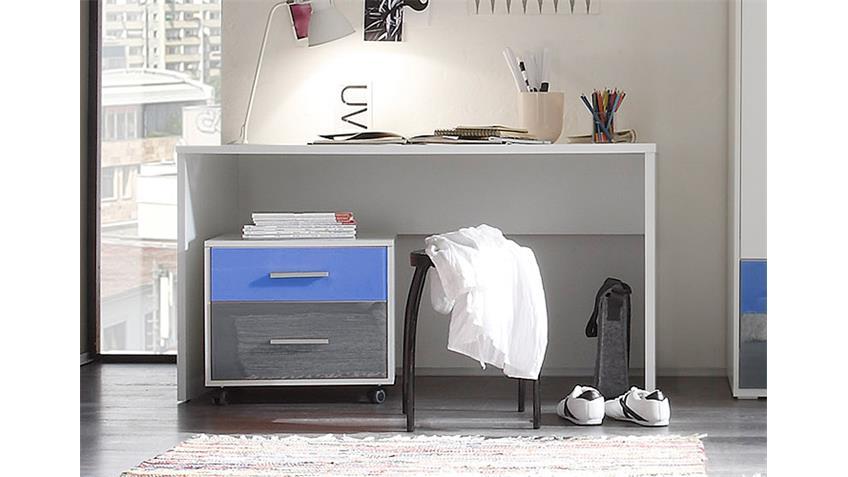 Schreibtisch Colori Tisch in weiß mit Rollcontainer in blau und grau
